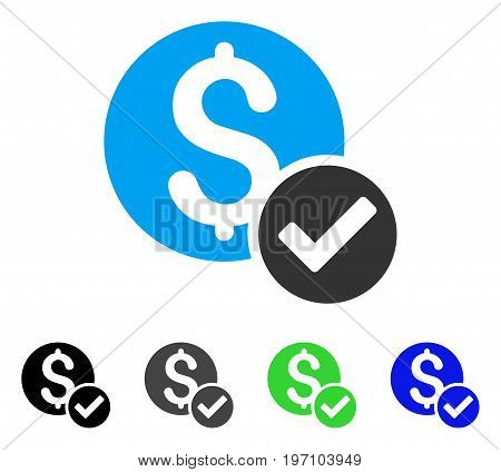 Approved Payment flat vector pictogram. Colored approved payment gray, black, blue, green pictogram versions. Flat icon style for graphic design.