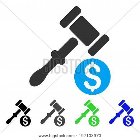 Auction flat vector icon. Colored auction gray, black, blue, green icon variants. Flat icon style for application design.