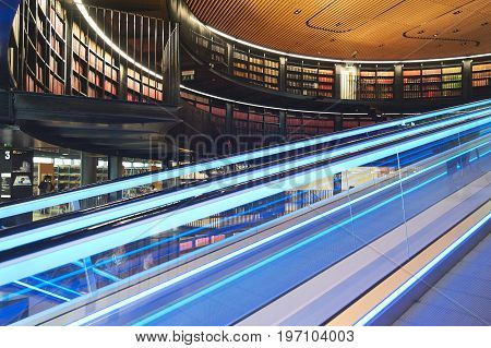Interior of modern library in Birmingam England