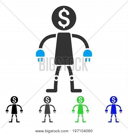 Bank Robot flat vector pictogram. Colored bank robot gray, black, blue, green pictogram variants. Flat icon style for graphic design.