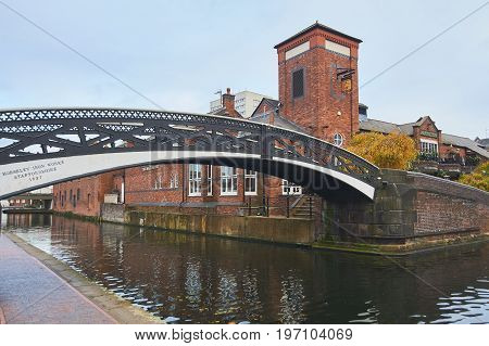Old fashioned dock at Birmingham canals with bridge