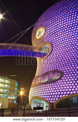 Christmas night illumination of Bullring Shopping centre in Birmingam