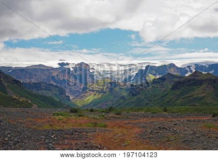 Thorsmork National Park In Iceland  - Green Mountains Glacier Tongue