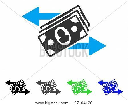 Banknotes Payments flat vector pictograph. Colored banknotes payments gray, black, blue, green pictogram versions. Flat icon style for web design.