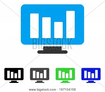 Bar Chart Monitoring flat vector pictogram. Colored bar chart monitoring gray, black, blue, green icon versions. Flat icon style for web design.