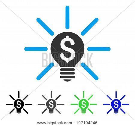 Business Idea Bulb flat vector icon. Colored business idea bulb gray, black, blue, green pictogram versions. Flat icon style for web design.