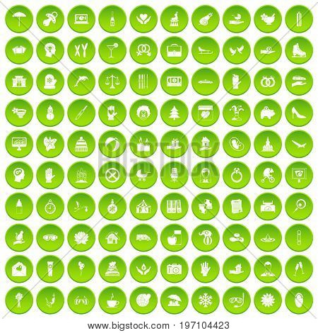 100 joy icons set in green circle isolated on white vectr illustration