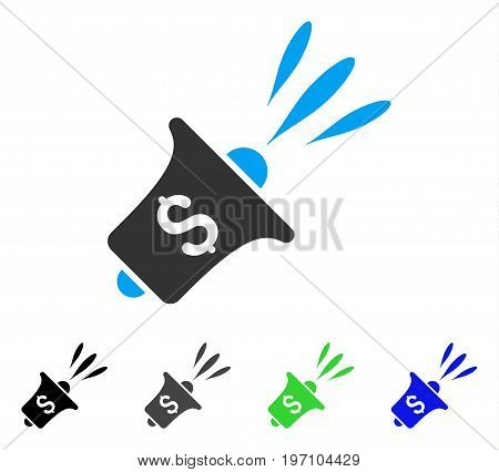Financial News Rupor flat vector icon. Colored financial news rupor gray, black, blue, green pictogram variants. Flat icon style for application design.