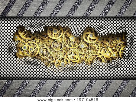 Background Torn Metal Plates With A Mechanism Unit Iron, 3D, Illustration