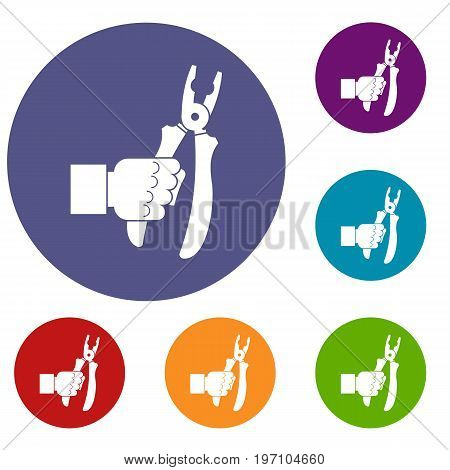 Hand holding chisel icons set in flat circle red, blue and green color for web