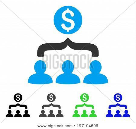 Sales Funnel flat vector pictograph. Colored sales funnel gray, black, blue, green pictogram variants. Flat icon style for application design.