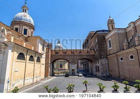 ROME, ITALY - JUNE 22, 2017: Amazing view of Chiesa di San Rocco all Augusteo in Rome, Italy