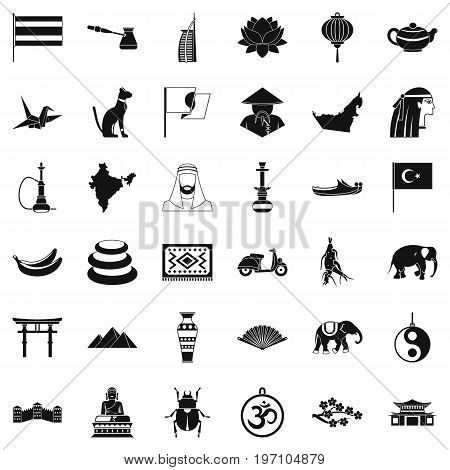 Asian travel icons set. Simple style of 36 asian travel vector icons for web isolated on white background