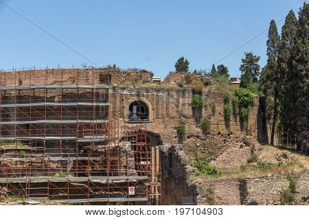 ROME, ITALY - JUNE 22, 2017: Ruins of Mausoleum of Augustus in city of Rome, Italy