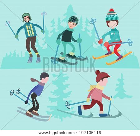 Winter sport and recreation or holidays concept. Flat vector illustration of people skiing. Comic concept flat design.