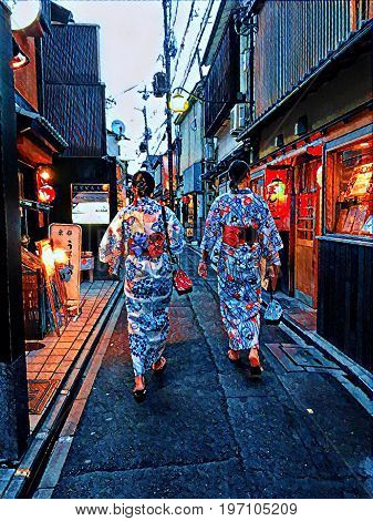 Digital painting of two ladies in Kyoto Japan each wearing a Kimono walking through a narrow street in the Gion area.