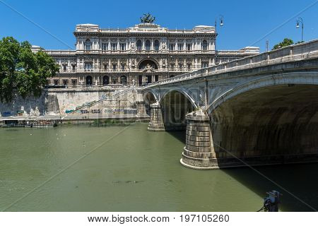 ROME, ITALY - JUNE 22, 2017: view of The Supreme Court of Cassation and Tiber River in city of Rome, Italy