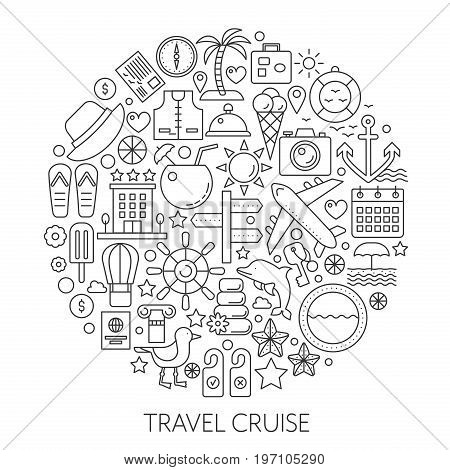 Travel cruise thin line vector concept illustration. Voyage vacation traveling stroke outline poster, template for web