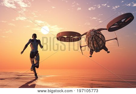 The cyborg and the flying machine. ,3d render