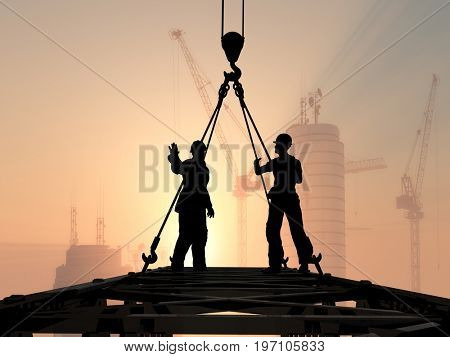 Workers against the background of the city.,3d render