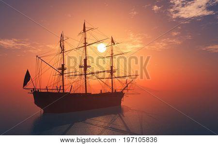 Vintage sailboat sailing in the sea.,3d render