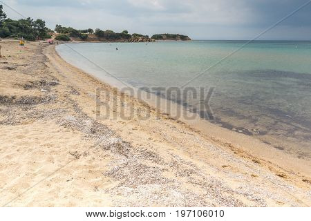 Panoramic view of Castri Beach at Sithonia peninsula, Chalkidiki, Central Macedonia, Greece