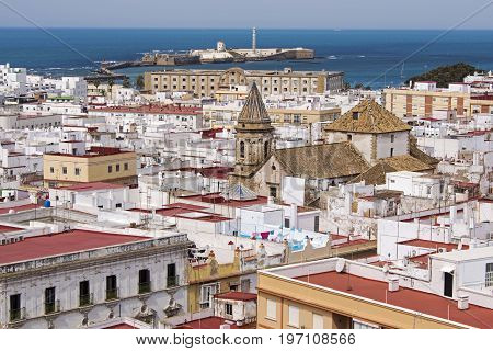 Partial view of the port city Cadiz Andalusia Spain