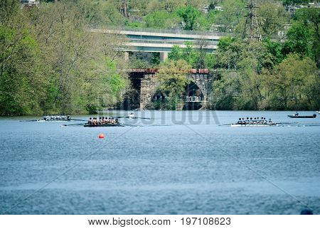 Schuylkill River Regatta competition in Philadelphia, Pennsylvania