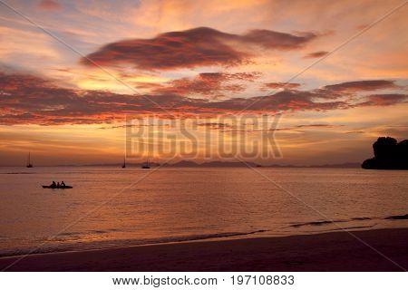 Stunning sunset at the sea coast - natural background