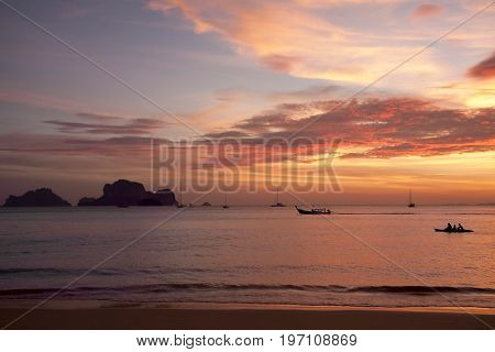 Stunning sunset at the beach - natural background