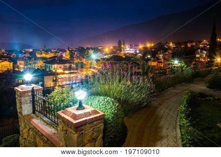 Night view of the city of Oludeniz, Fethiye, Turkey