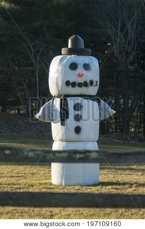 Dartmouth Massachusetts USA - December 20 2006: High-fashion snowman on farm in Dartmouth Massachusetts