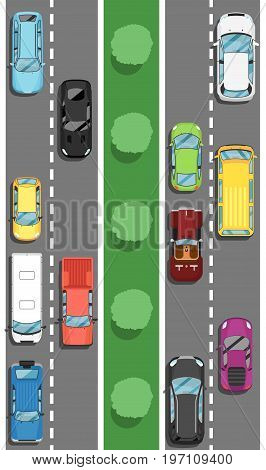 Highway traffic in rush hour poster in flat style. Urban heavy traffic concept, top view cars on road, automobile congestion, city transport services. Transportation banner vector illustration.