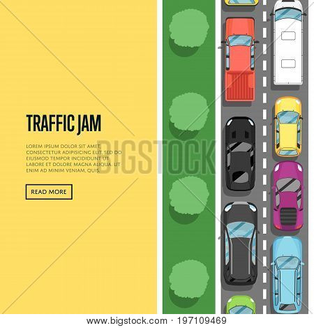 Traffic jam in rush hour poster in flat style. Urban heavy traffic concept, top view cars on road, automobile congestion, city transport services. Highway transportation banner vector illustration.