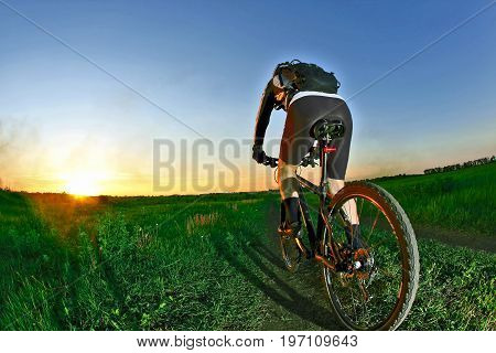 cyclist rides on the road into the sunset