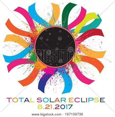 2017 Solar Eclipse Totality Corona text color vector illustration
