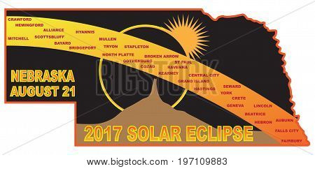 2017 Solar Eclipse Totality across Nebraska State cities map color vector illustration