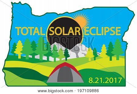 2017 Total Solar Eclipse Path across Oregon State camping tent color vector illustration