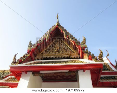 close up temple exterior detail in Bangkok, Thailand