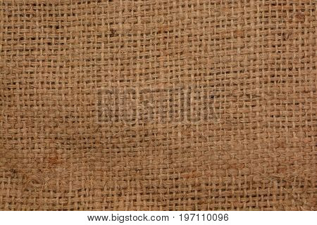 Closeup of Rustic jute sackcloth fabric as texture background