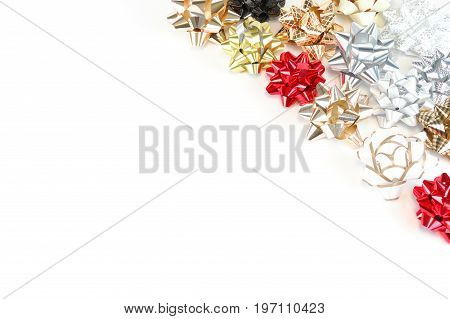 colorful bows at the corner isolated on white background