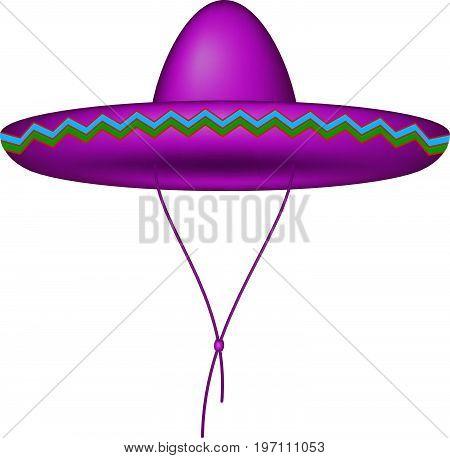 Sombrero hat in purple design on white background