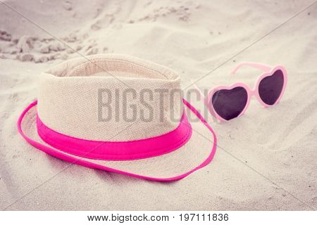 Vintage Photo, Sunglasses And Straw Hat At Beach, Sun Protection And Summer Time Concept