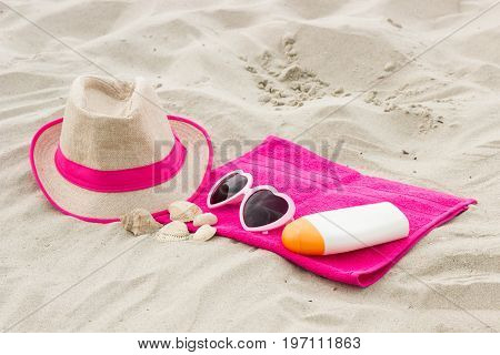 Accessories For Vacation On Sand At Beach, Sun Protection And Summer Time Concept