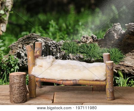 A photographers backdrop prop of a miniature bed made of a Coral Bark Japanese Maple tree with a wooded forest in the background.