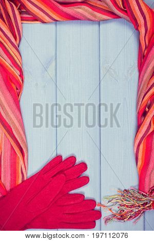 Vintage Photo, Frame Of Gloves And Shawl For Woman, Clothing For Autumn Or Winter