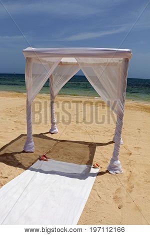 Beach wedding on the sand in Jamaica