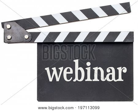 webinar title in white chalk on clapboard isolated on white