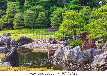 Traditional Japanese Garden At Nijo Castle, Kyoto.