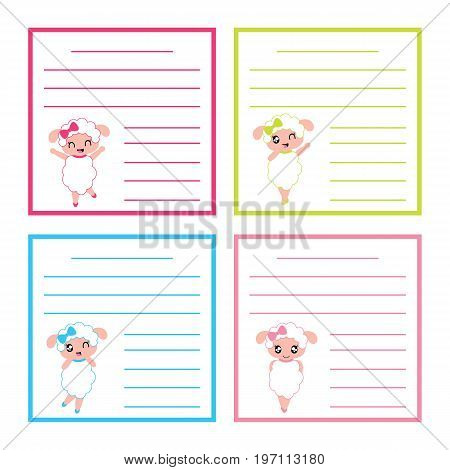 Colorful memo paper with cute sheep girls on colorful frame vector cartoon illustration for kid memo paper set and notebook